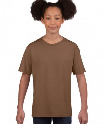 tricou bumbac copii Gildan maro