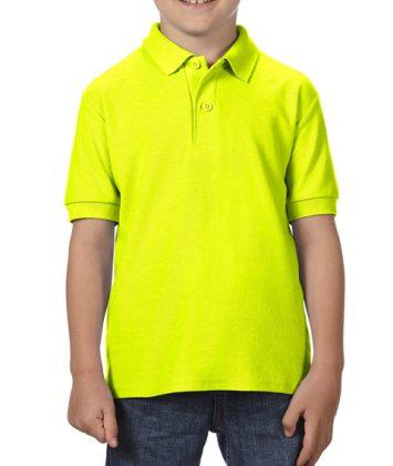 Tricou-polo-copii-gildan-dry-blend-galben-neon