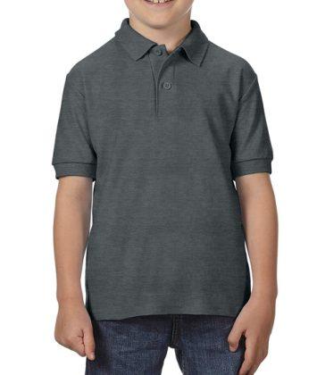 Tricou-polo-copii-gildan-dry-blend-gri-inchis-heather